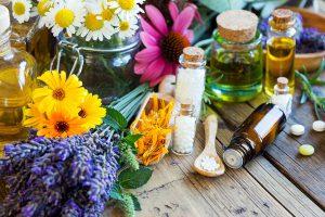 Verschiedene Pflanzen, Globuli und Tinkturen auf Holztisch als Symbolbild für Homöopathie