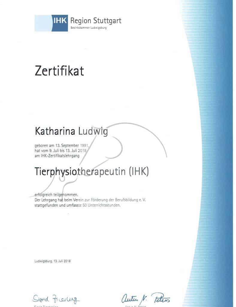 Zertifikat IHK Tierphysiotherapeutin